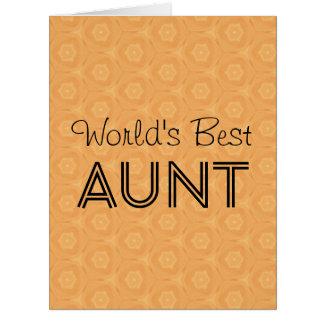 World's Best AUNT Peach Geometric Pattern Card
