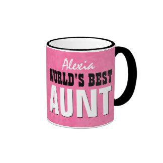 World's Best AUNT Pink Grunge V23 Ringer Coffee Mug