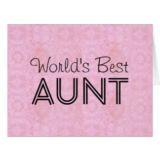 World's Best AUNT Pink Vintage Big Greeting Card