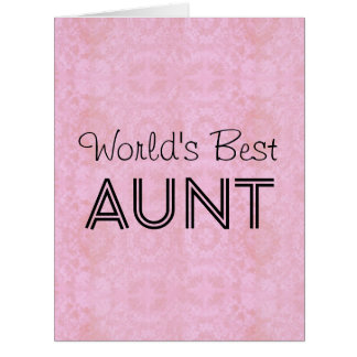 World's Best AUNT Pink Vintage Big Greeting Card 2