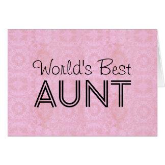 World's Best AUNT Pink Vintage Note Card