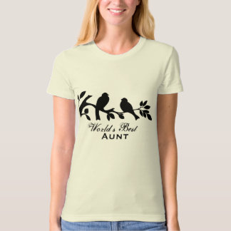 World's Best Aunt sparrows silhouette branch T-Shirt