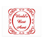 World's Best Aunt - Swirly Border Tees and GIfts Post Cards