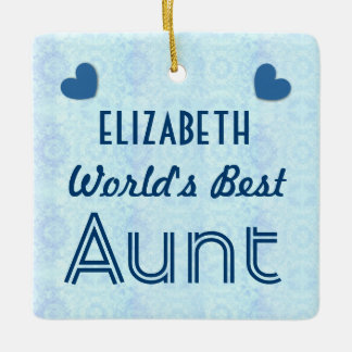 World's Best AUNT with Blue Hearts A03 Ceramic Ornament
