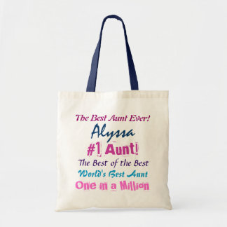 World's Best AuntCustom Name Navy and Pink Text Bags