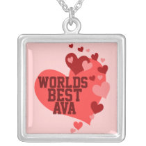 World's Best Ava (any name) Silver Plated Necklace
