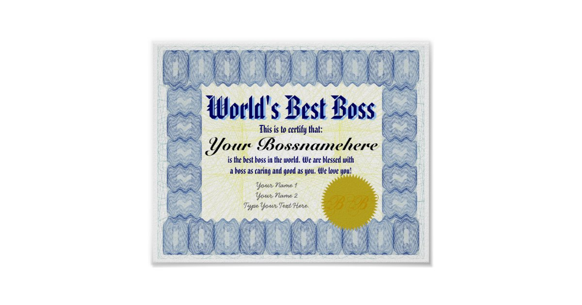 Worlds Best B Oss Certificate Print Zazzle