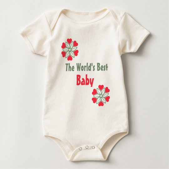 World's Best Baby Six Red Hearts Flower Shirt