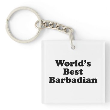 Beach Themed World's Best Barbadian Keychain