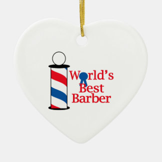 WORLDS BEST BARBER Double-Sided HEART CERAMIC CHRISTMAS ORNAMENT