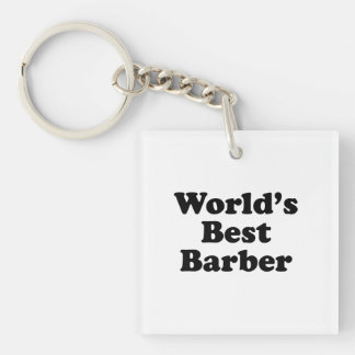 World's Best Barber Single-Sided Square Acrylic Keychain