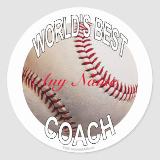 World's Best Baseball Coach Classic Round Sticker