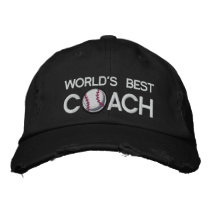 Worlds Best Baseball Coach Embroidered Baseball Hat