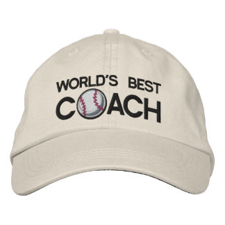 Worlds Best Baseball Coach Embroidered Baseball Caps