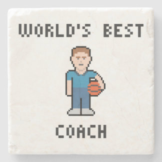 World's Best Basketball Coach Marble Stone Coaster