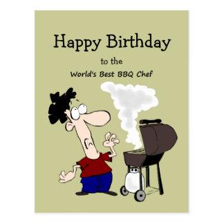 World's Best BBQ Chef Fun Quote Birthday Greeting Postcard