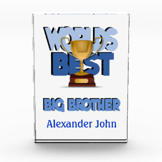 Worlds Best Big Brother Blue Personalized Acrylic Award