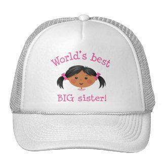 Worlds best big sister - black girl hats