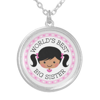 Worlds best big sister black hair dark skin silver plated necklace