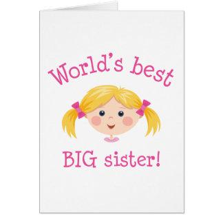 Worlds best big sister - blond hair cards