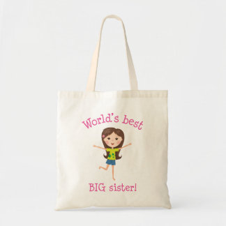 World's best big sister brown haired cartoon girl tote bags