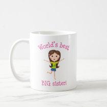 World's best big sister brown haired cartoon girl coffee mug