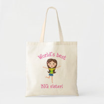 World's best big sister brown haired cartoon girl tote bag