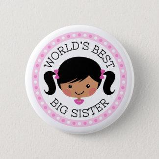 Worlds best big sister cartoon girl black hair button