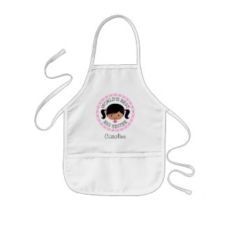 Worlds best big sister cartoon girl black hair kids' apron