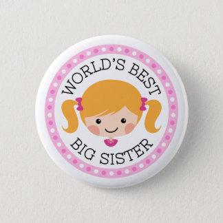 Worlds best big sister cartoon girl blond hair button