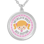 Worlds best big sister cartoon girl blond hair round pendant necklace