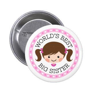 Worlds best big sister cartoon girl brown hair 2 inch round button