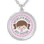 Worlds best big sister cartoon girl brown hair round pendant necklace