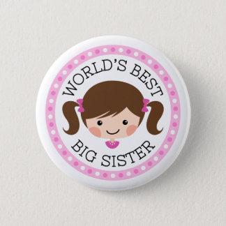 Worlds best big sister cartoon girl brown hair pinback button