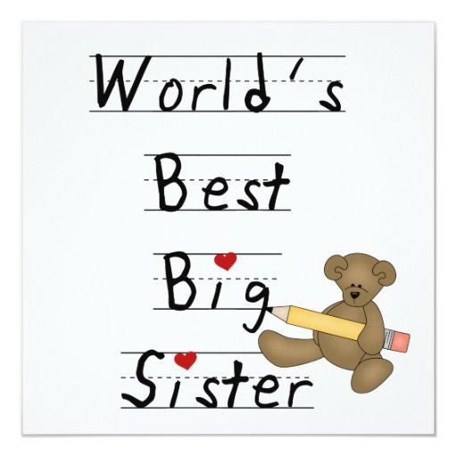 World's Best Big Sister Gifts 5.25x5.25 Square Paper Invitation Card
