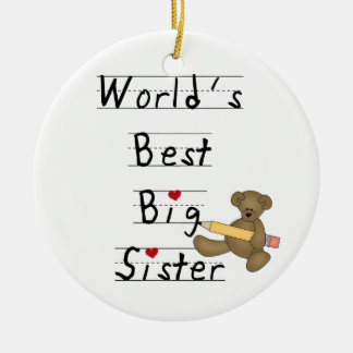 World's Best Big Sister Gifts Double-Sided Ceramic Round Christmas Ornament