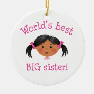 Worlds best big sister ornament - black hair