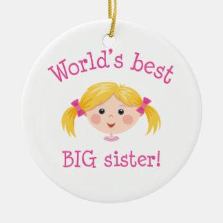 Worlds best big sister ornament - blond girl