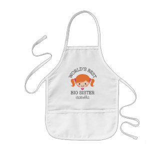 Worlds best big sister red hair personalized kids' apron