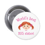 Worlds best big sister - red haired girl 2 inch round button