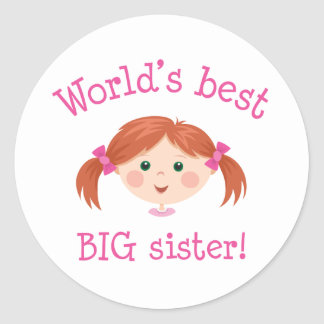 Worlds best big sister - red haired girl stickers