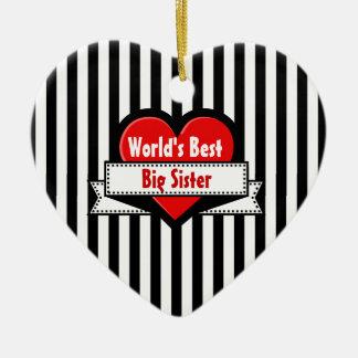 World's Best BIG SISTER Red Heart Ribbon 7 Ceramic Ornament
