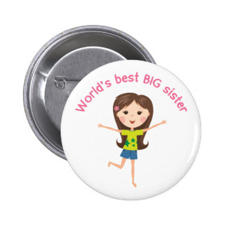 Worlds best big sister with cartoon girl pinback 2 inch round button