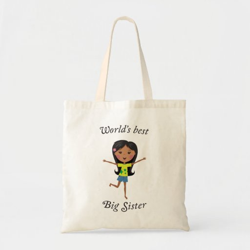 Worlds best big sister with cartoon girl tote bag