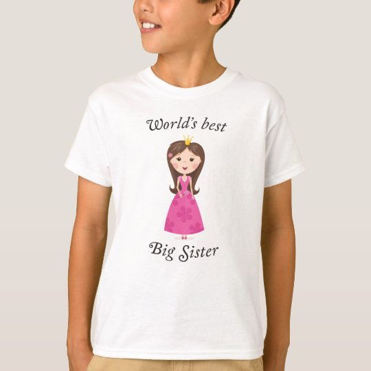 Worlds best big sister with cartoon princess girl T-Shirt