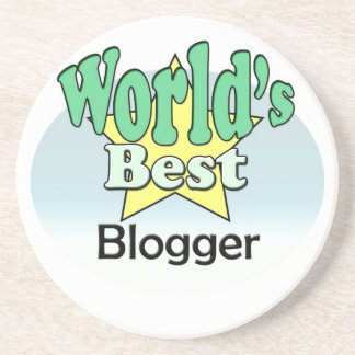 World's best blogger sandstone coaster