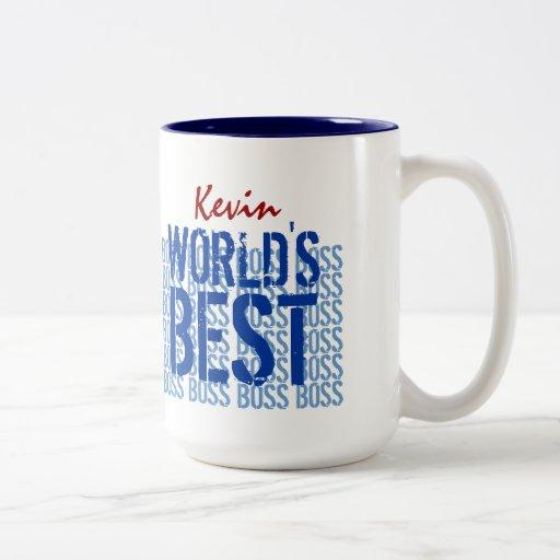 World's Best Boss Blue Grunge Lettering G451 Coffee Mugs