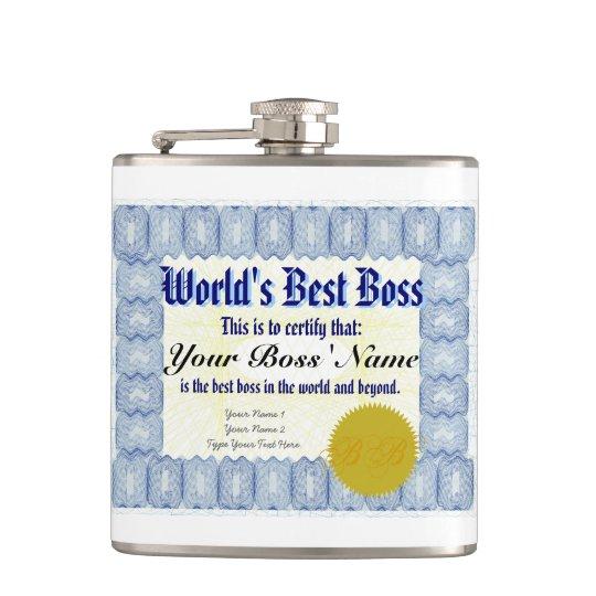 World S Best Boss Certificate Hip Flask Zazzle Com