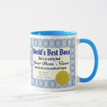 "World&#39;s Best Boss Certificate Mug<br><div class=""desc"">World&#39;s Best Boss Certificate Mug. A great birthday or anniversary gift for your boss with this cool best boss certificate mug with fully customizable texts &quot;World&#39;s Best Boss&quot;, &quot;This is to certify that:&quot;, &quot;Your Boss&#39; Name here&quot;, &quot;is the best boss in the world and beyond.&quot;, &quot;Your Name(s) and text&quot;. This...</div>"