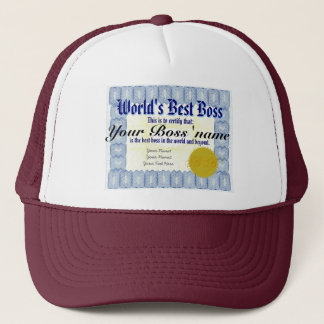 World's Best Boss Certificate Trucker Hat